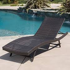 Amazon.com: Eliana Outdoor Single Brown Wicker Chaise Lounge: Kitchen &  Dining