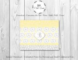 Printable Note Cards Template Chic Lemon Floral Diy Printable Monogram Note Card You Add Text