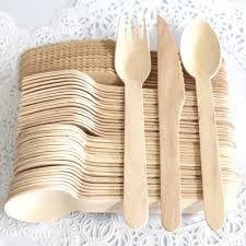 300 pieces disposable wooden cutlery set by easy life creations with 100 forks 100 knifes 100