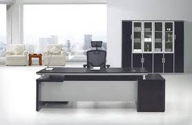 black office table. Designer Office Table White Color Long Computer Black Wooden Marble Countertop
