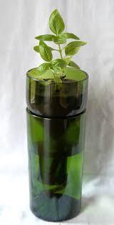 Green VinoPonic Planter - Re-Purposed Wine Bottle Self Watering Planter.