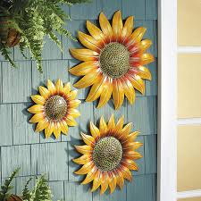 outdoor metal sunflower wall art