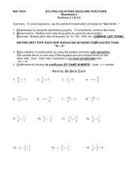 math worksheets solvings using addition and subtraction involving fractions one step home math worksheets solving