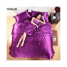 100 pure satin silk bedding set home textile king size bed set bedclothes duvet cover flat sheet pillowcases whole color white size family suite 5 pcs