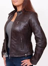 womens leather biker jacket jasmine brown