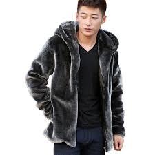 mens fur coats mink winter men jacket fur parka hooded motorcycle biker suede jackets zipper cardigan brand black blue faux