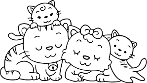 Small Picture Animal Cat Family Coloring Page Wecoloringpage