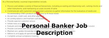 Customers Service Job Description Personal Banker Job Description Skills Requirement