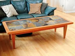Seamless Diy Coffee Table Ideas With Travertine Tile Top Also Leather Black  Sofa
