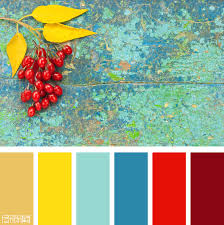Color Palette: Gold, Turquoise and Red. If you like our color ...