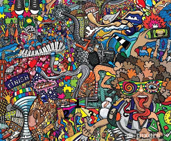 sports collage on a large brick wall