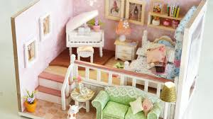 diy girly miniature dollhouse kit with furniture lights