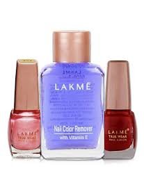lakme truewear 254 and 416 nail paint 9 ml with nail color remover 27 ml pack of 3 lakme truewear 254 and 416 nail paint 9 ml with nail color remover