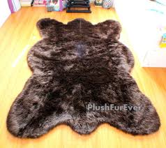 brown bearskin large area rug furry lodge cabin accent decors gy rustic