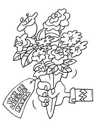Bloem Kleurplaat Beterschap Kleurplaat Bosje Bloemen Voor Moederdag