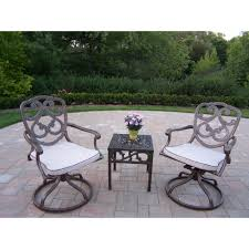 pacifica 3 piece aluminum outdoor bistro set with tan cushions