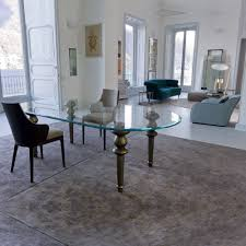 Italian Glass Dining Table High End Italian Oval Glass Dining Table Juliettes Interiors