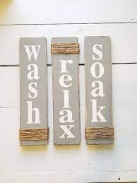 Amazon Com Rustic Bathroom Signs Wash Relax Soak Gray Farmhouse Wooden Signs For Bathroom Decor Primitive Wood Signs Set Of Three Handmade