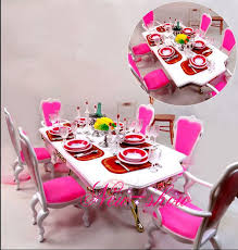 dollhouse dining room furniture. Pink \u0026 White Dining Table Set / Dollhouse Room Furniture Saucer Chair Accessories For Barbie