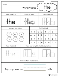 Kindergarten Sight Word Worksheets Intended For Words Dolch ...