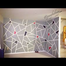 Small Picture DIY green frog tape wall paint design took about 4 6 hours to