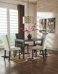 get your kimonte rectangular table 2 ivory uph side chairs 2 brown uph side chairs at that furniture