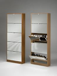 Rectangle Brown Wooden Shoes Cabinets With Pull Out Mirror Doors And Five  Racks.