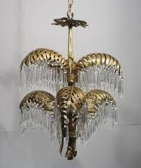 antique vintage brass hollywood regency palm tree chandelier 6 light fixture
