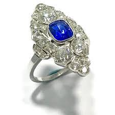 natural no heat sapphire and diamond art deco platinum ring