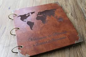 12x12 inches leather travel photo al our adventure book personalized wedding guest book weddinng photo al