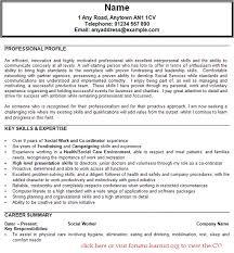 Cv For Social Worker Curriculum Vitae For Social Workers Social
