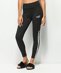 Puma Leggings Womens Zumiez Puma Tape Black Leggings