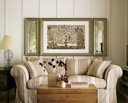 For Decorating Living Room Walls Decorations Rectangular Mirrors On Beige Wall Above Rusic Wooden