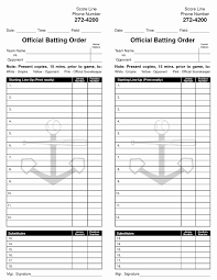 Baseball Lineup Card Template Mathosproject