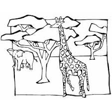Small Picture Giraffe And Elephant In Savanna Coloring Page
