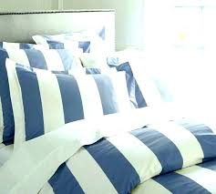spread navy and white striped bedding sheet set