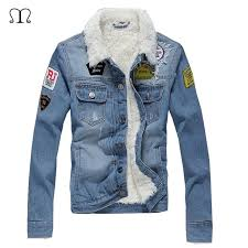 denim jacket men winter casual warm fur lined jean coat male slim fit vintage motorcyle jackets