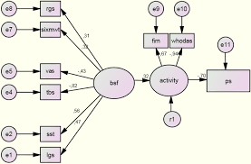 figure 3 structural equation model of the relationships between functioning components from the icf model n 226 chi square 124 1 df 19 gfi 0 886