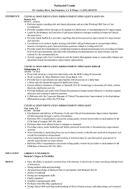 Clinical Documentation Improvement Specialist Resume Samples