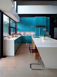View In Gallery Captivating Use Of Blue Kitchen Cabinets In The Contemporary  Kitchen