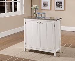 Kings Brand White With Marble Finish Top Kitchen Island Storage Cabinet