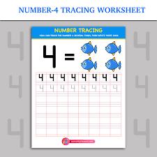 Number-4 Tracing Worksheet | Inky Treasure