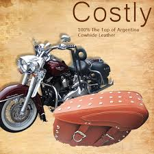 a pair argentina top cowhide leather motorcycle saddlebags brown black