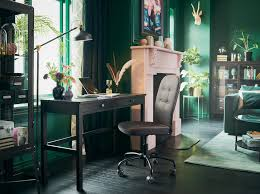 ikea office inspiration. a black brown desk by the window in sitting room with green walls and ikea office inspiration h