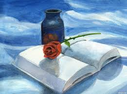 rose vase and book