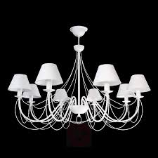 bona white chandelier with fabric lampshades 6089095 01