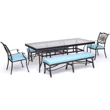 hanover traditions 5 piece aluminum outdoor dining set with blue cushions with bench and glass