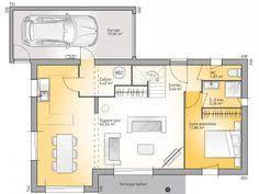 Plans De Maison : RDC Du Modèle Eco Concept. Maison Moderne à étage De  110m2. 3 Chambres + 1 Suite Parentale #Maison #plans #contemporaine #moderne  # ...