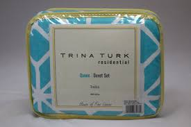 trina turk trellis turquoise full queen duvet cover set