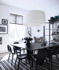 white and black dining room table. White Dining Room With Black Decor And Table